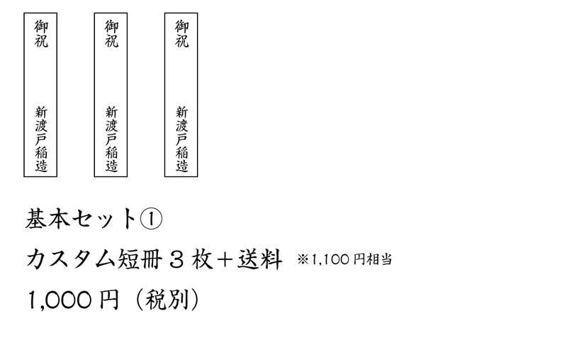熨斗 基本セット① カスタム短冊3枚+送料(1,100円相当) 1,000円(税別)
